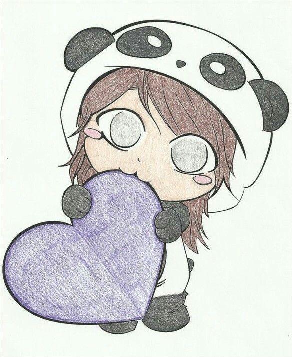Cute Panda Girl Biting Heart Cute Panda Drawing Easy Manga Drawings Cute Drawings