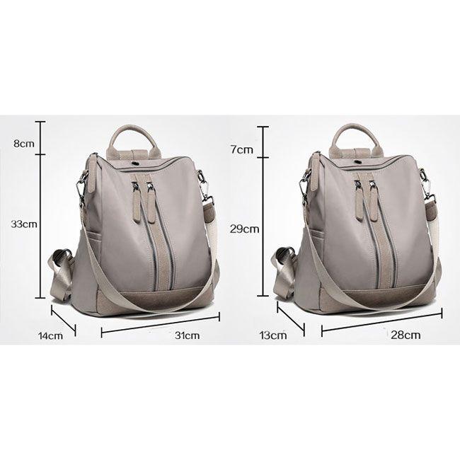 6230791fa3 British Style Waterproof Double Zipper Multi-function Handbag Large School  Girl s PU Backpack