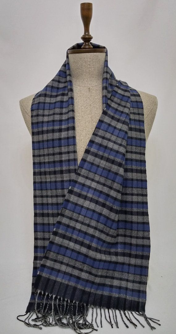 Gray and Blue Men's Scarf, Gray and Blue Scarf, Soft Men's Scarf - SC126 #handmadeatamazon #nazodesign