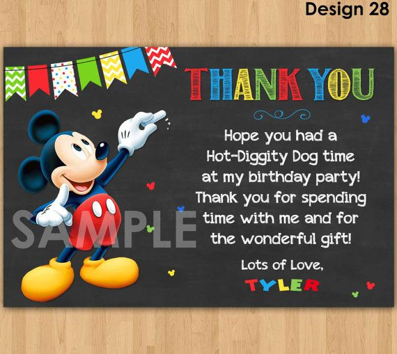 Mickey Mouse Thank You Card Mickey Thank by KidsPartyPrintables