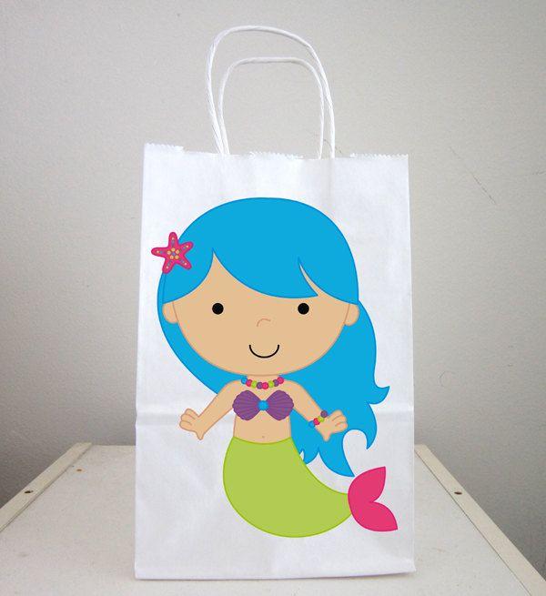 Mermaid Goody Bags, Mermaid Gift Bags, Mermaid Favor Bags, Mermaid ...