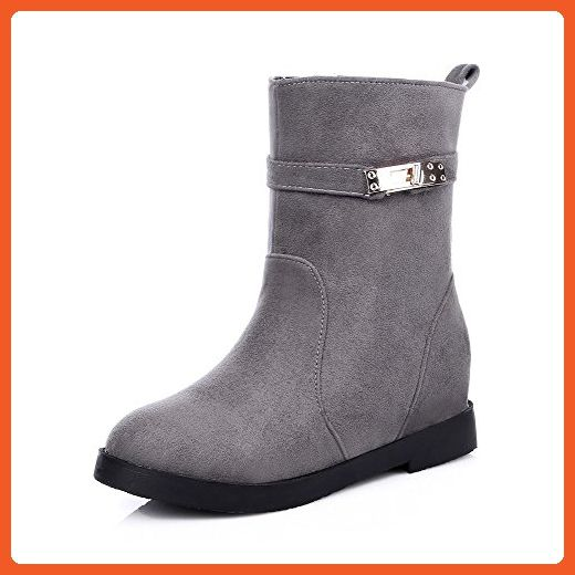 Women's Solid Low-Heels Round Closed Toe Imitated Suede Buckle Boots Gray 35