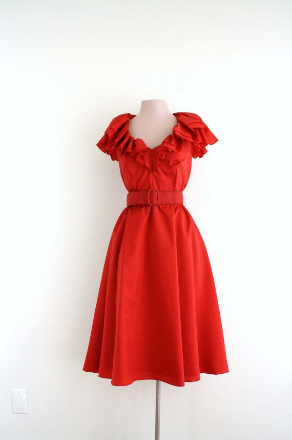 1970's Lipstick Red Ruffle Party Dress