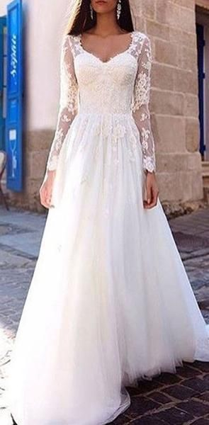 Long Sleeve Lace A-line Cheap Wedding Dresses Online, WD366 Long Sleeve Lace A-line Cheap Wedding Dresses Online, WD366 #civilweddingdresses