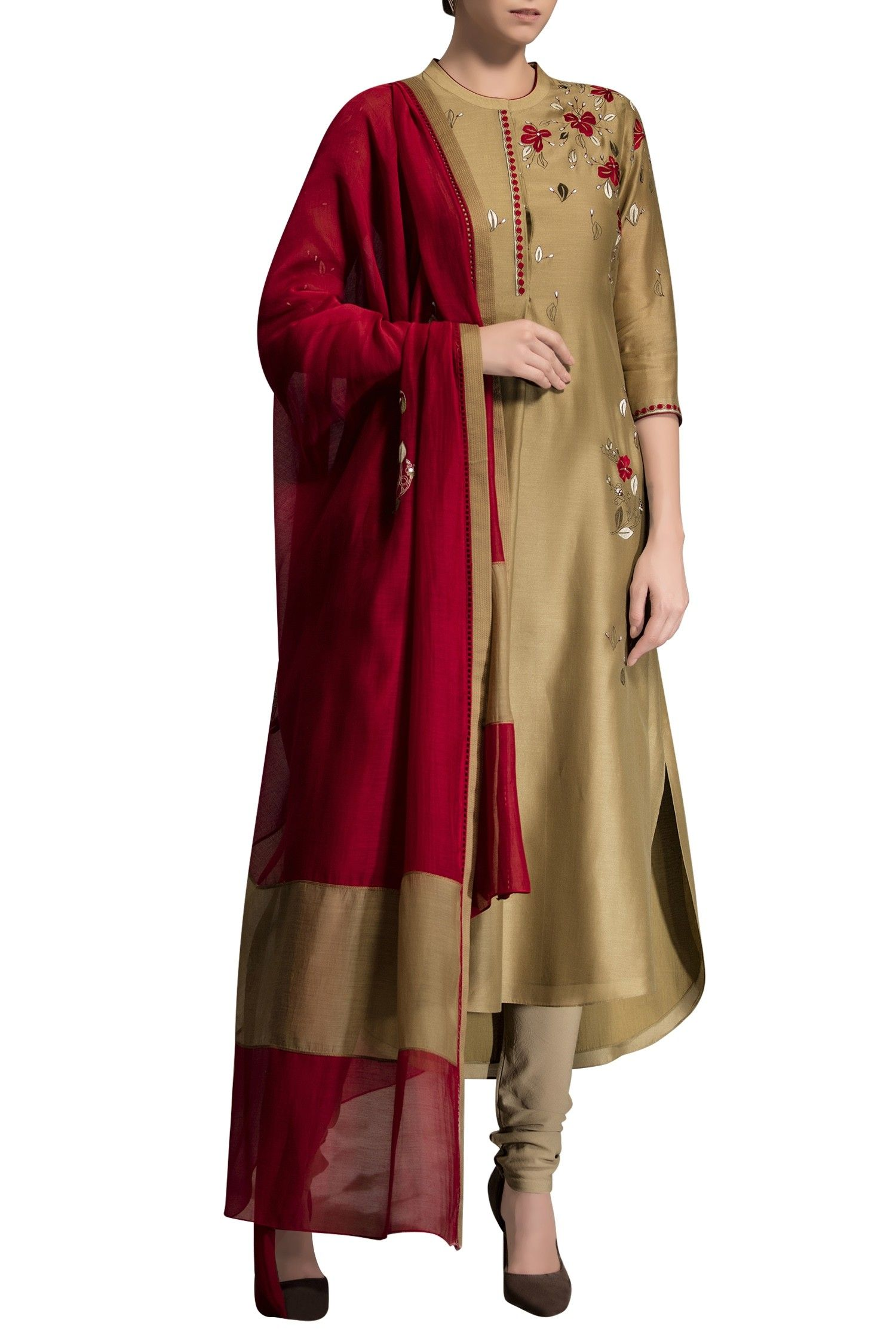 7f5b08c141 Light gold embroidered kurta with dupatta by AM:PM - Shop at Aza ...