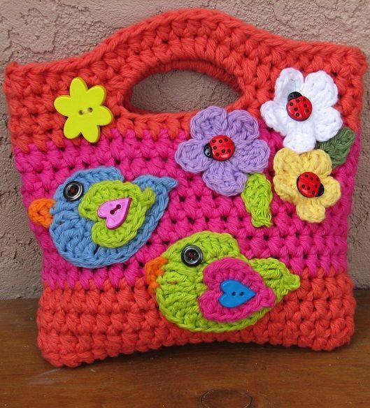 Crochet pattern girls bag - ideas for embellishing a bag later ...
