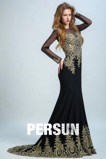 64e68c52207b Robe soirée noire Sirène manches longues avec dentelle dorée appliquée –  Persun.fr