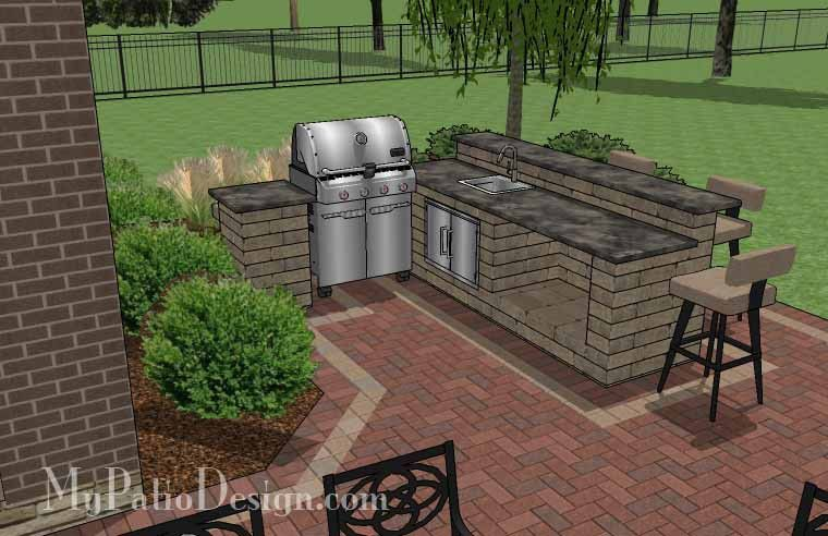 Large Courtyard Brick Patio Design With Outdoor Kitchen And Fire Mesmerizing Outdoor Kitchens And Patios Designs Decorating Design