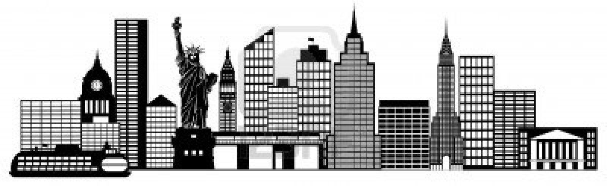 New York City Skyline Panorama Black And White Silhouette Clip City Skyline Silhouette City Skyline Skyline Drawing