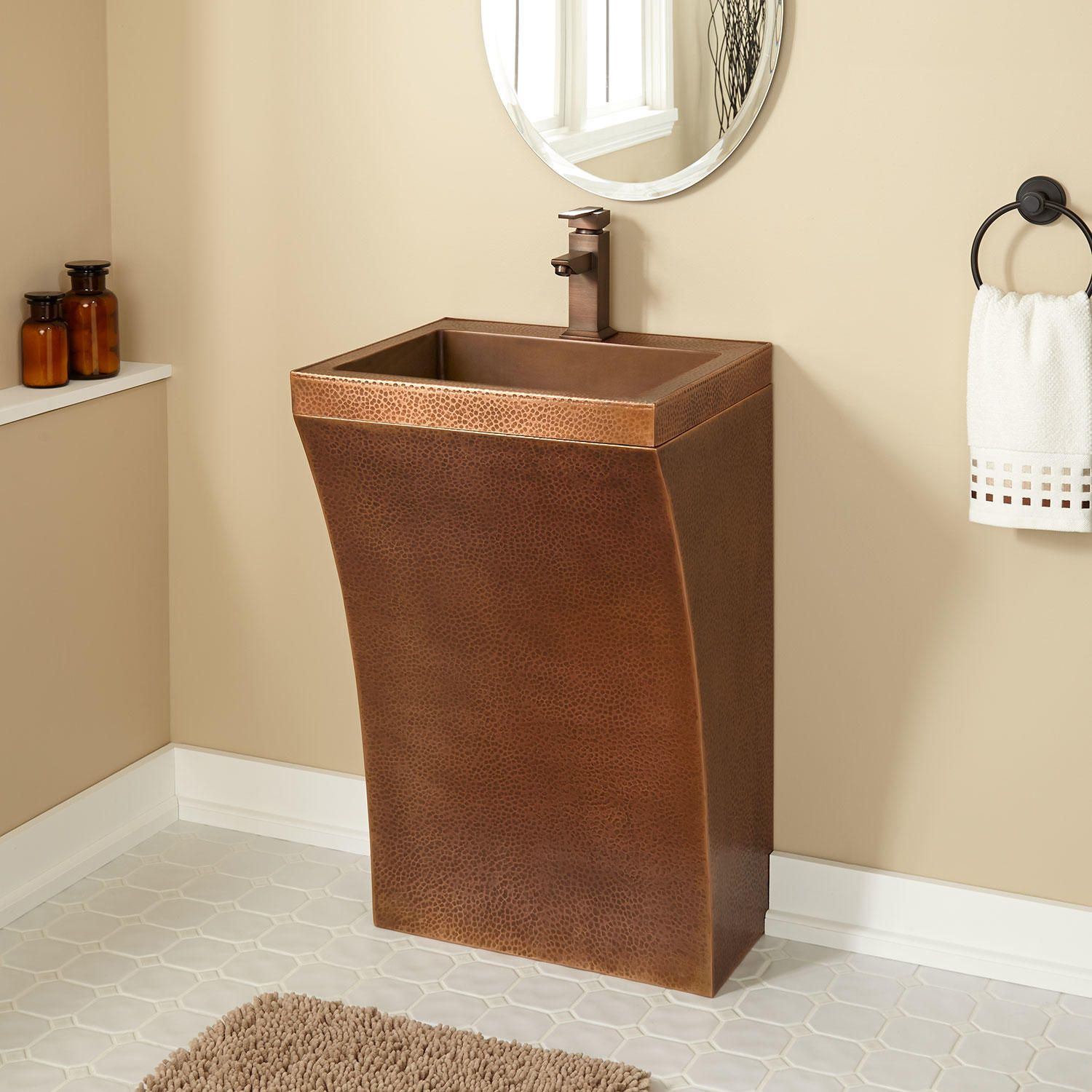 Square Smooth Copper Pedestal Sink Sinks Bathroom