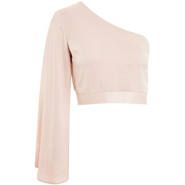 e17b3e44564562 Topshop Satin One Shoulder Blouse (100 ILS) ❤ liked on Polyvore featuring  tops, blouses, nude, pink top, pink one shoulder top, one sleeve blouse,  off one ...