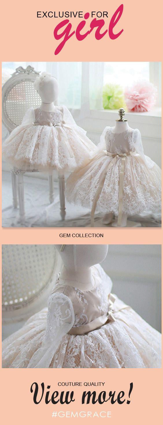 Ivory vintage lace flower girl dress long sleeves tutu princess