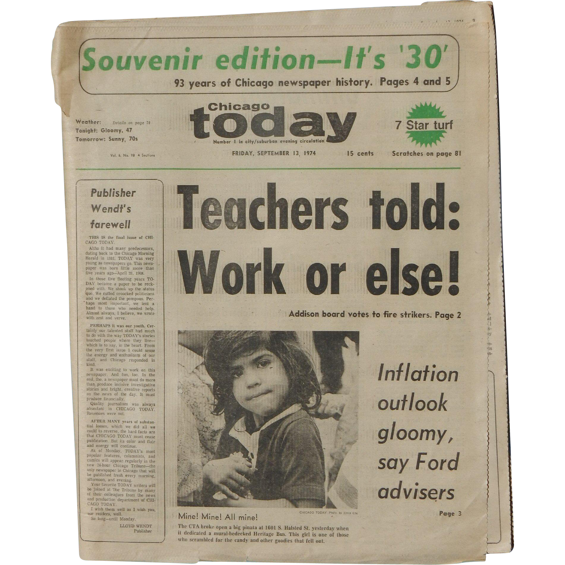 Chicago Today Final Edition 9 13 1974 Comp Ete Newspaper
