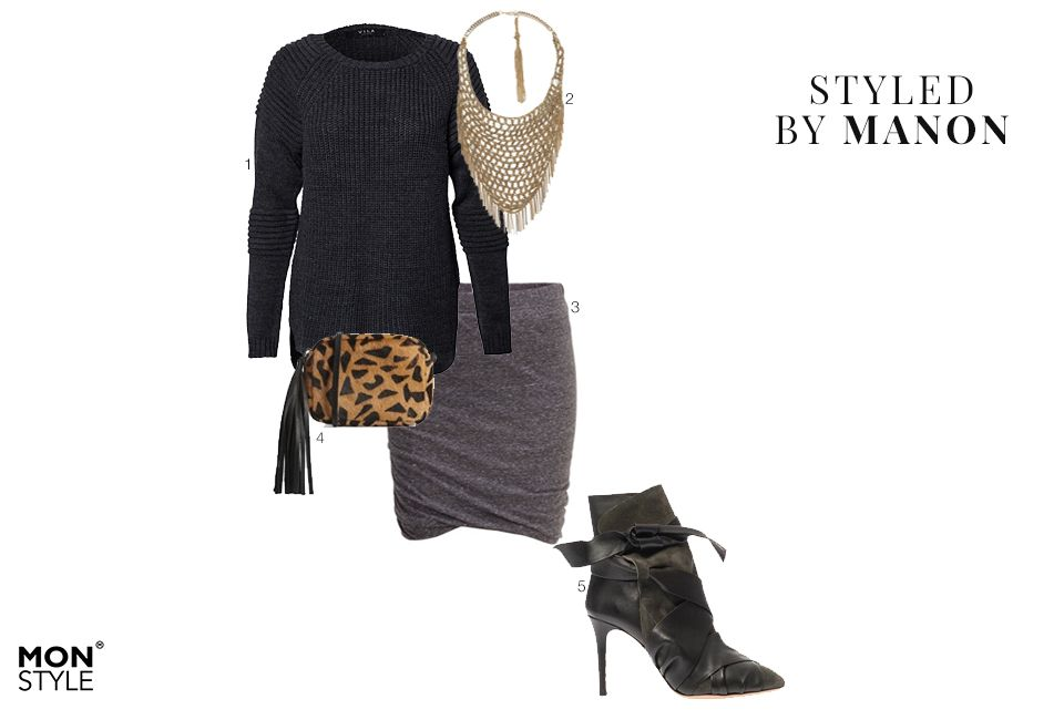 Styled by Manon #13: comfy knitwear, Vila sweater, Zara necklace, Selected Femme skirt, Asos bag, Isabel Marant heels