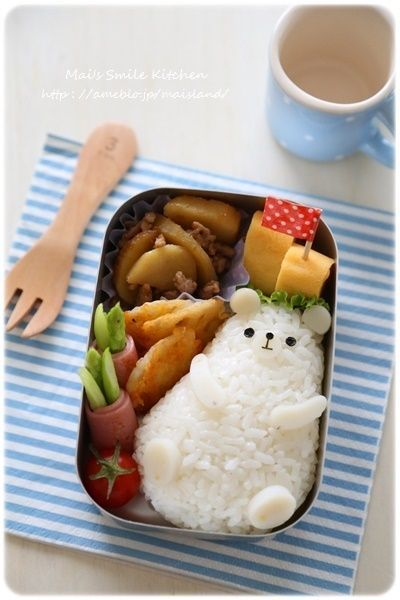Adorable chubby polar bear onigiri bento box #JapaneseFood #bentoboxlunch