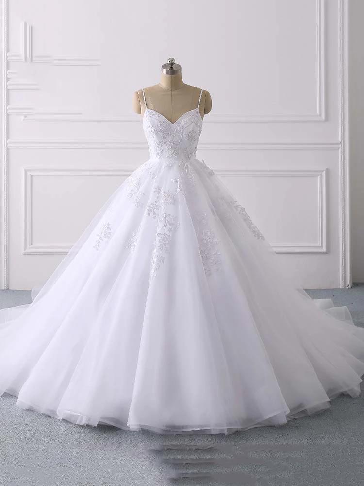 Glamorous Spaghetti Straps V-Neck Tulle Wedding Dresses