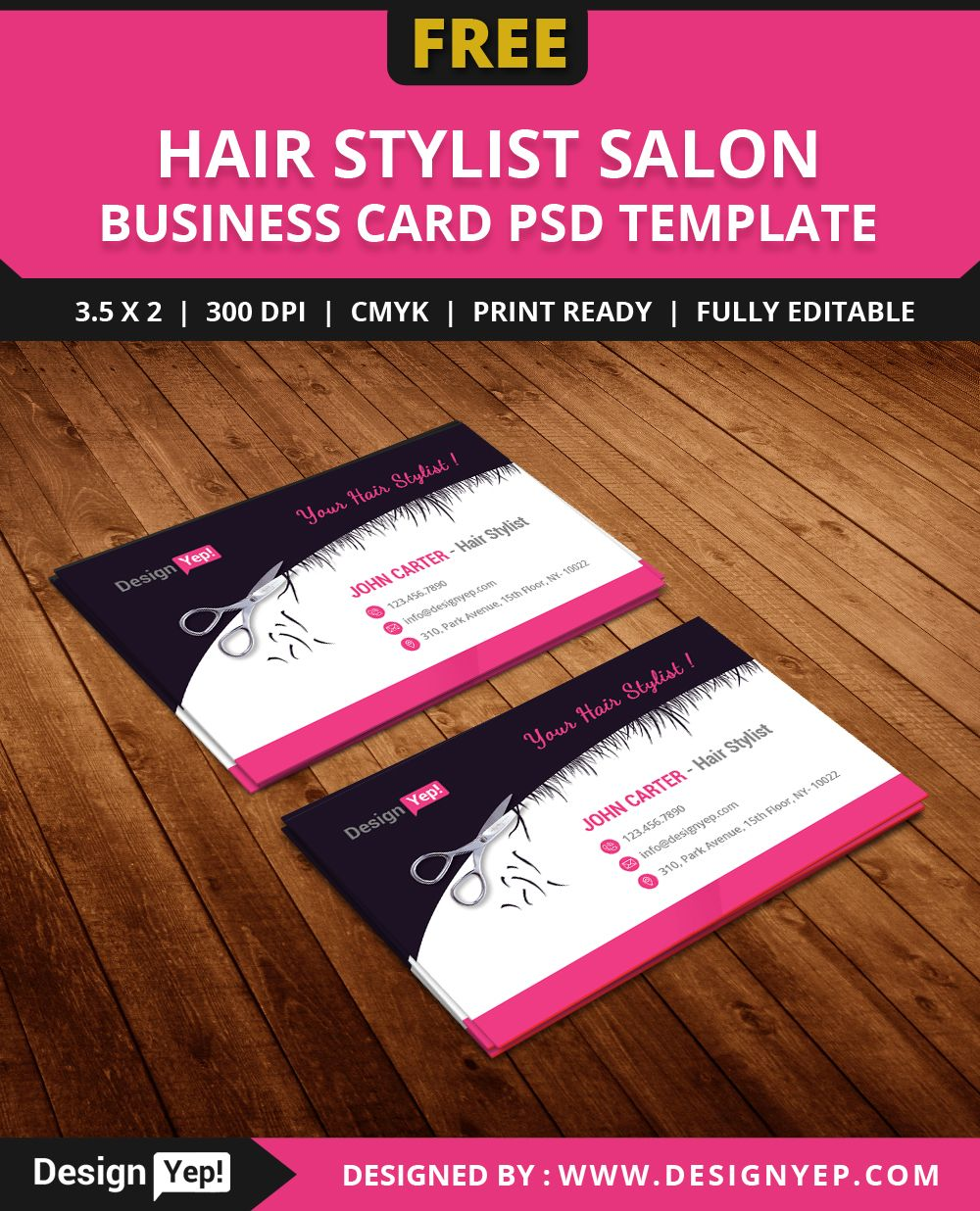 free hair stylist salon business card template psd free business