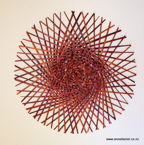Emanation #1  - 51cm diameter  -  $200; Handwoven dyed harakeke (NZ flax - phormium tenax);  © 2014 Anne Daniel