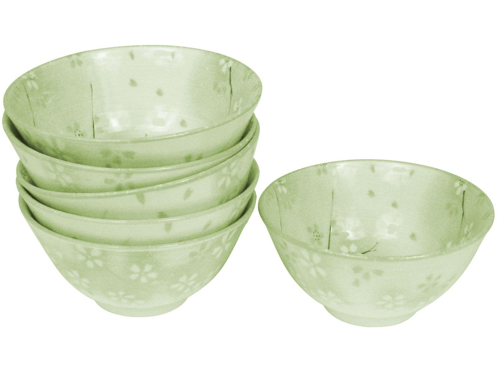 Summer Green Sakura Porcelain Soup Bowl Set For Six With Images Bowl Japanese Bowls Japanese Rice Bowl