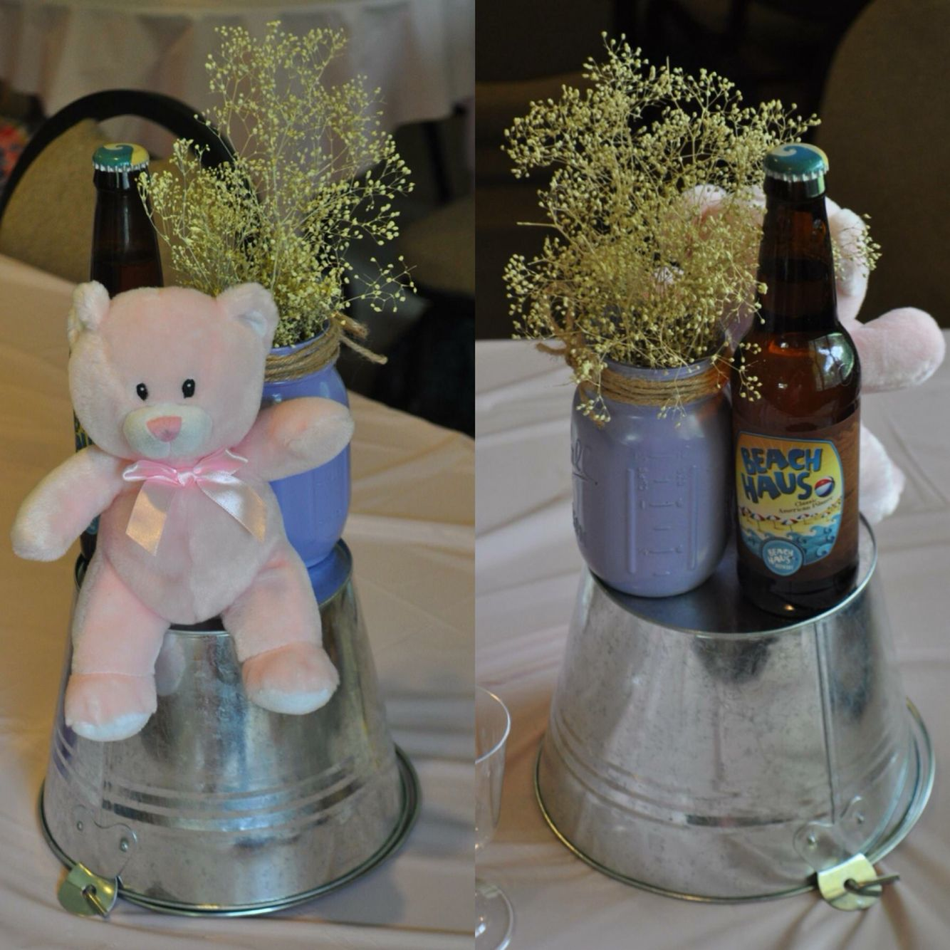 A baby is brewing themed baby shower centerpieces pink for Baby bottle decoration ideas