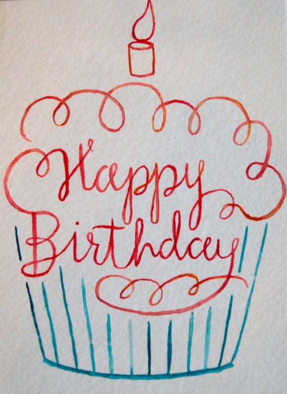 Happy Birthday Card Cupcake Card Watercolor Card Handmade Happy Birthday Card Greeting C Birthday Card Drawing Birthday Card Sayings Happy Birthday Doodles