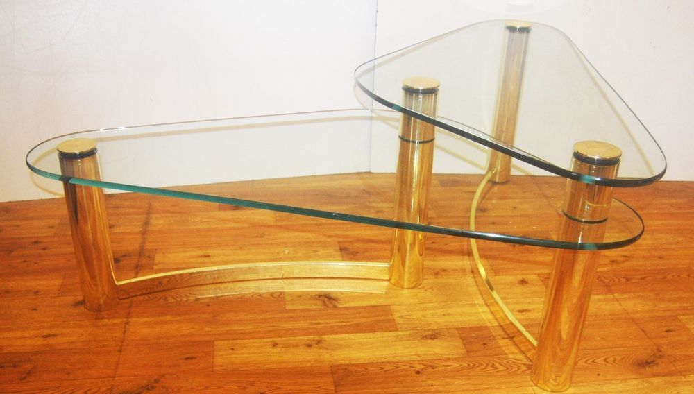 Pace Mid Century 2 Tier Brass Kidney Shaped Glass Coffee Table
