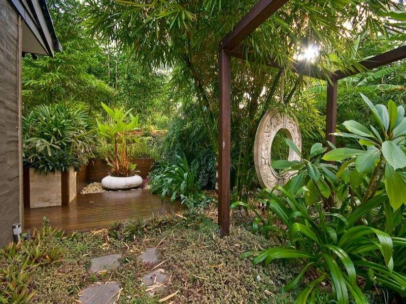 Garden Design Tropical ideas portfolio, like this messy look, path, gravel, screened