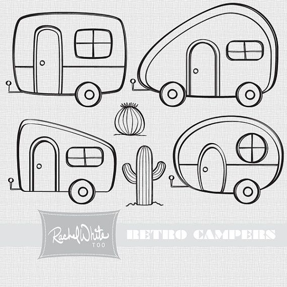 Retro Campers Vector Illustrations