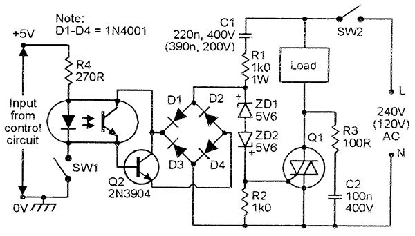 Triac Isolated-input AC power switch, AC triggered