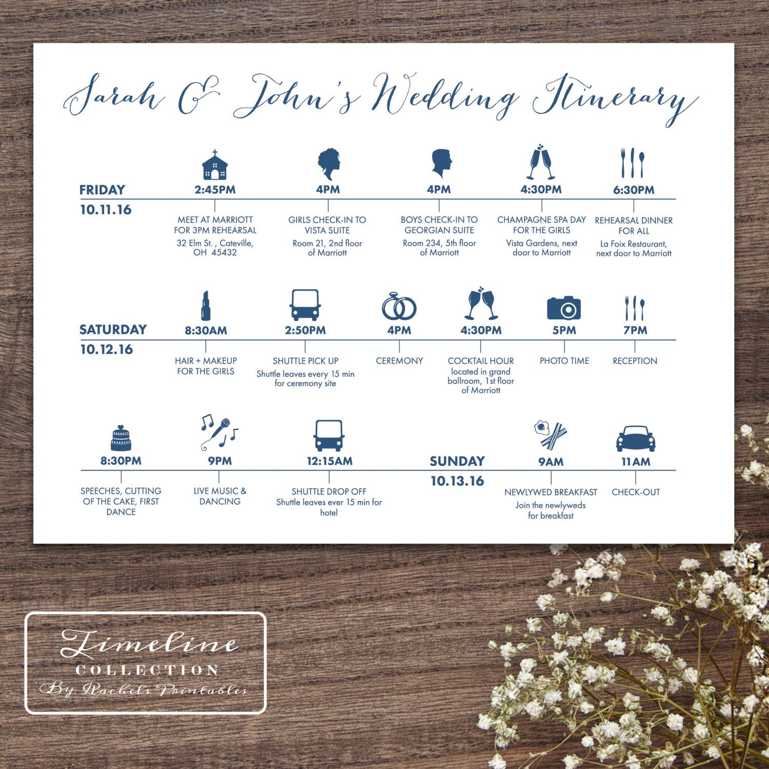 Printable Wedding Timeline Day Of Itinerary Schedule Card - three ...