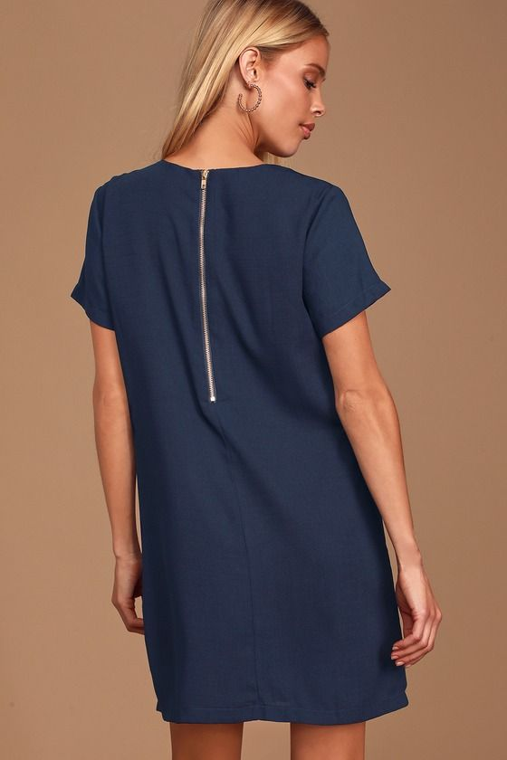 Lulus | Shift and Shout Navy Blue Shift Dress | Size X-Small | 100% Polyester #navyblueshortdress