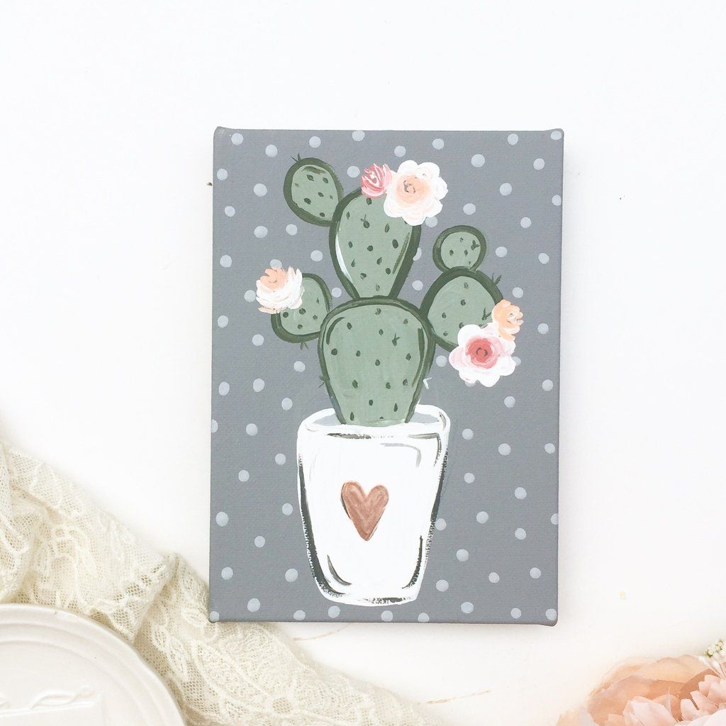Cute Floral Cactus Canvas