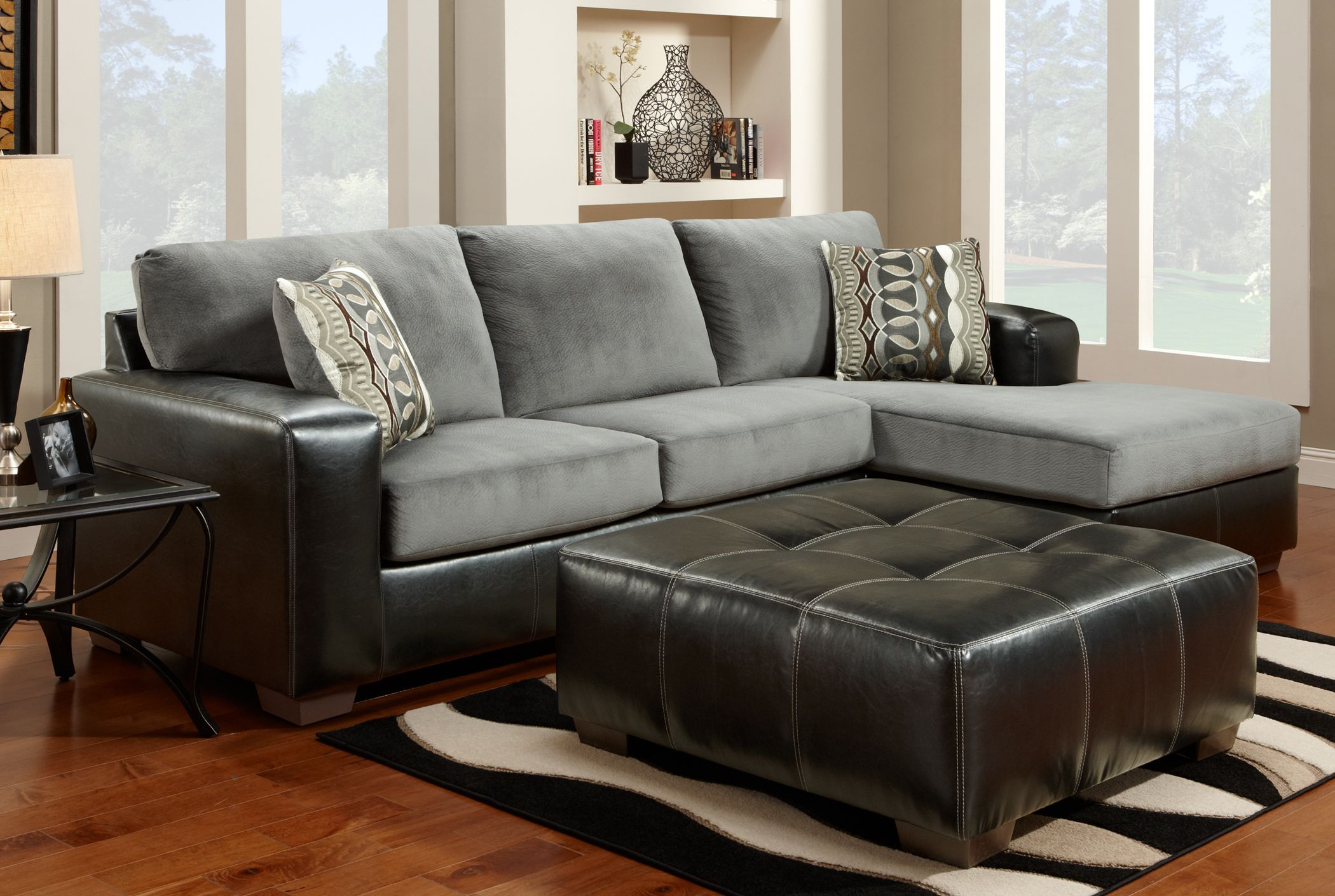 Cumulus Black Gray Two Toned Sectional Sofa Chaise And