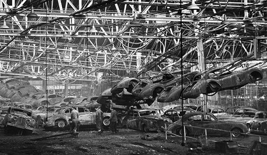 1957 Browns Lane Fire Damage. The XK-SS Production Was