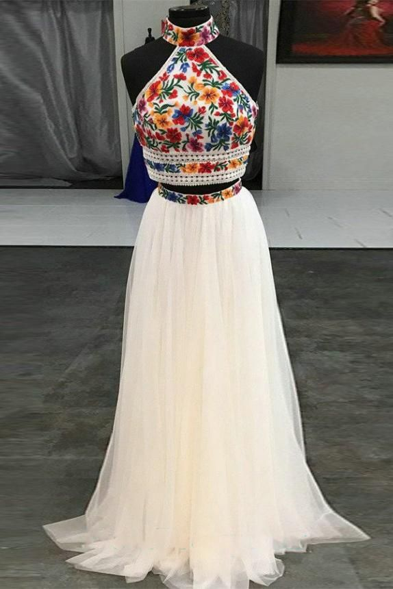 229c4bc1eb54b Halter Sweet 16 Dress Two Pieces Embroidery Floral Long Prom Dress OP408 –  ombreprom.co.uk