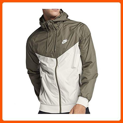 Nike Mens Windrunner Hooded Track Jacket Light BoneMedium OliveWhite 727324 -072 0dd160cdb