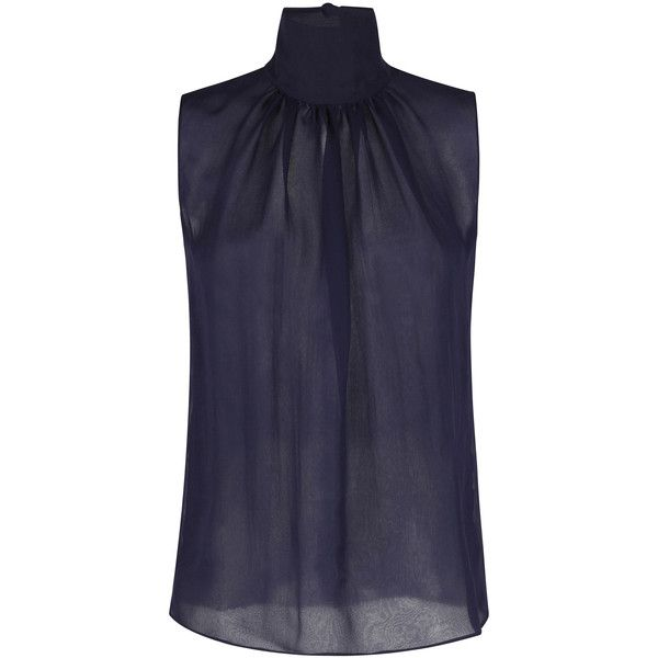 Martin Grant Sleeveless Silk Chiffon Top (7.235 HRK) ❤ liked on Polyvore featuring tops, blue sleeveless top, blue top, keyhole top, ruched sleeveless top and mock neck top