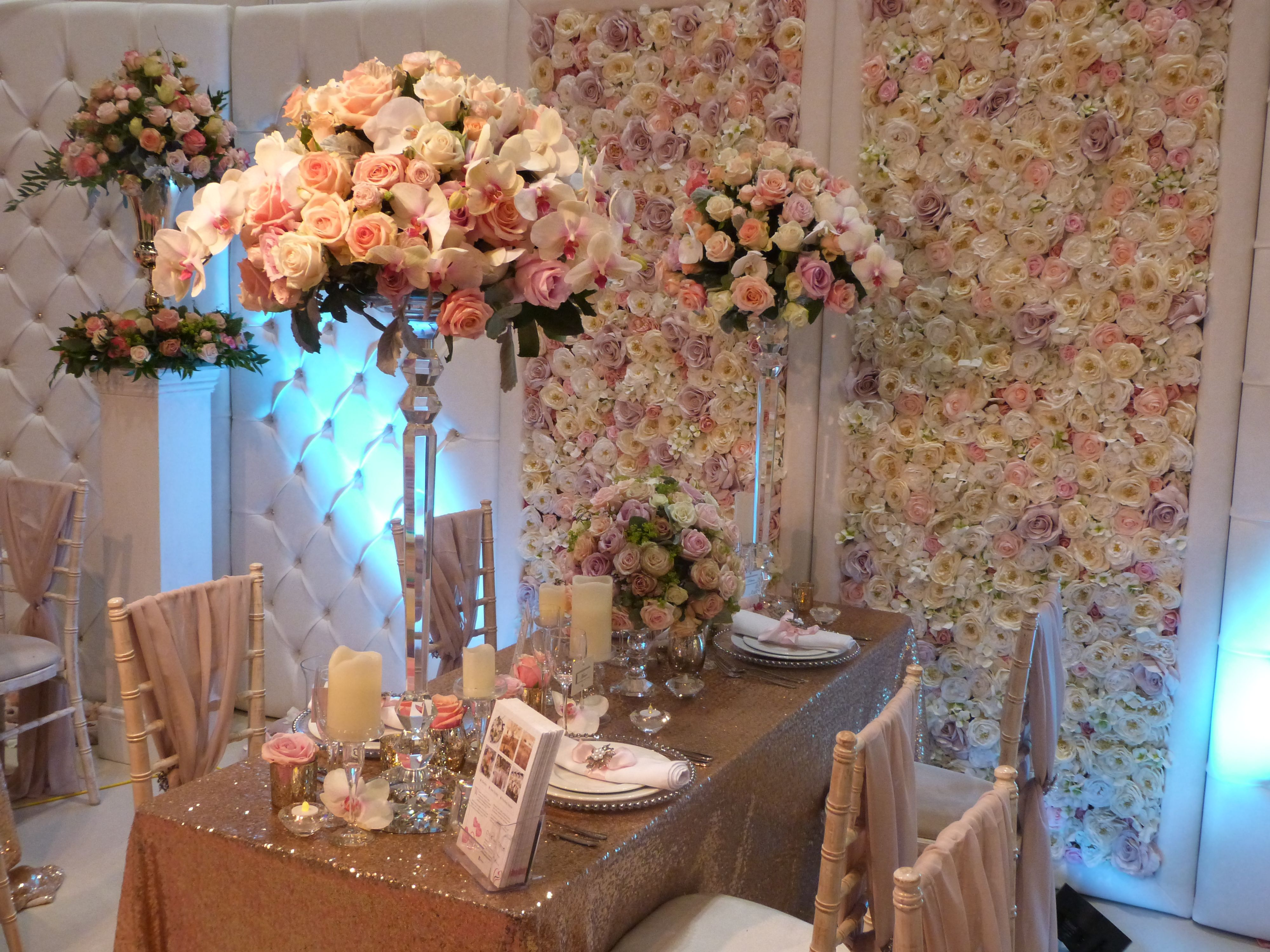 #rose #orchid #pink #peach #ivory #cream #crystal #pillar
