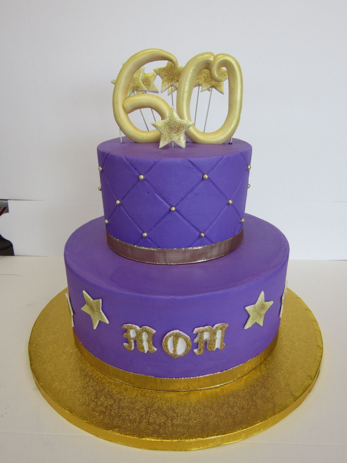 2 Tier 60th Birthday Cake Purple And Gold