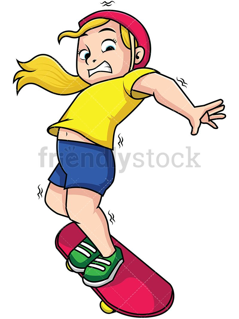 Woman Falling From Skateboard Cartoons Vector Fall Cartoon