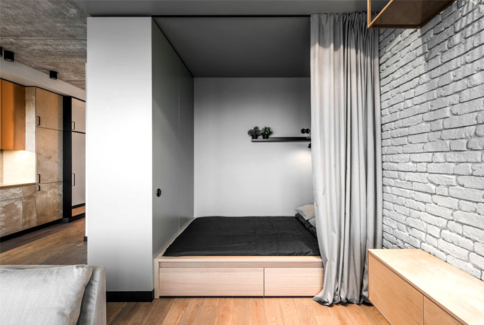Space Saving Design For Studio Apartment Small Apartment Bedrooms Small Apartment Design Apartment Design