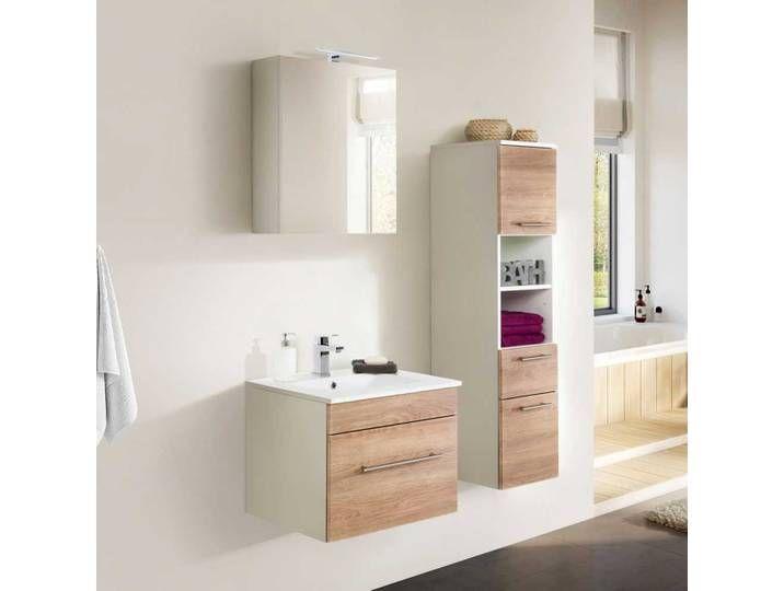 Badezimmermobel Set In Weiss Und Eichefarben Modern 3 Teilig Vanity Double Vanity Bathroom