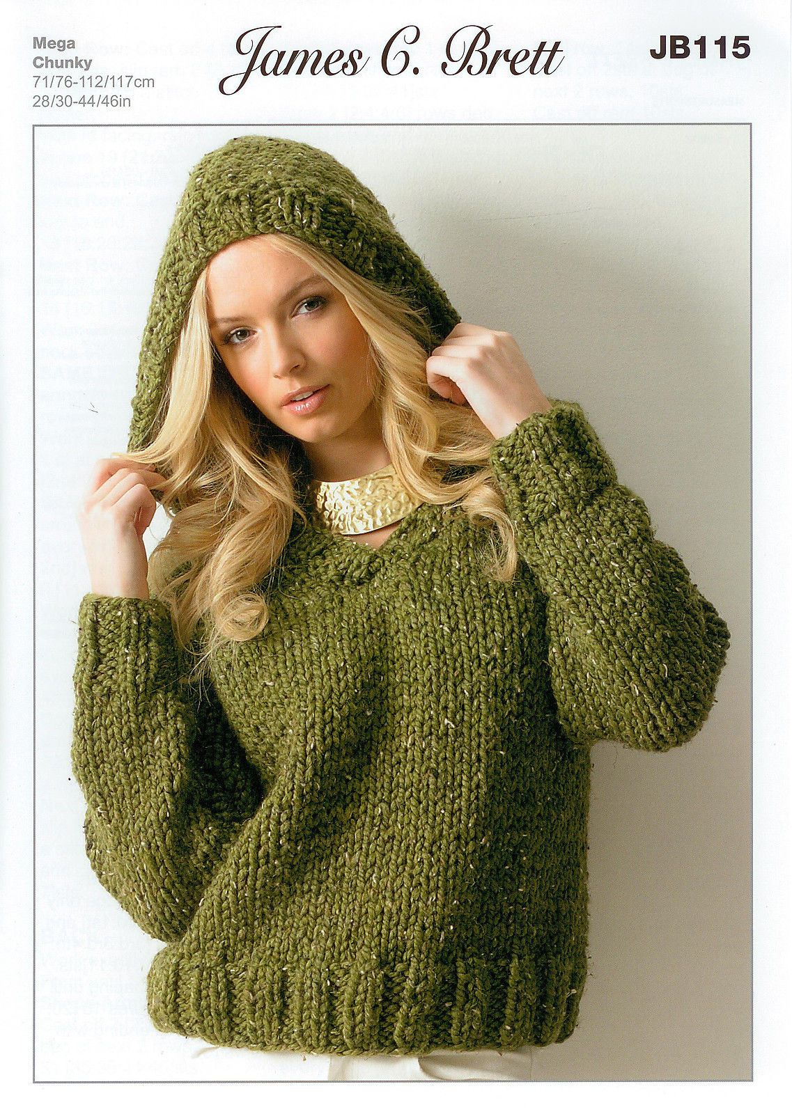 Ladies Hooded Sweater JB115 Knitting Pattern James C Brett Rustic ...