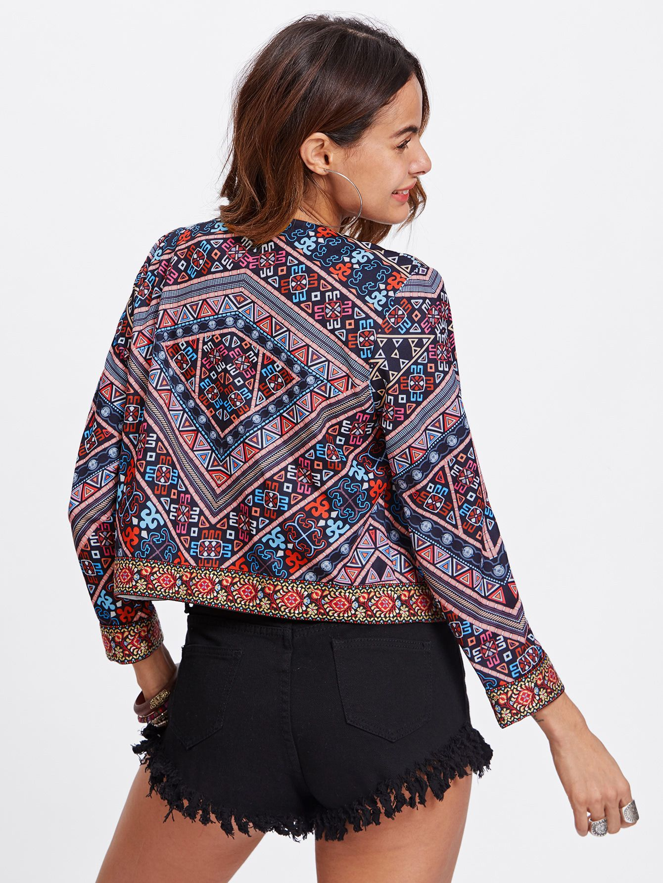 65d8cc98f3 Shop Embroidered Tape Trim Tribal Print Jacket online. SheIn offers Embroidered  Tape Trim Tribal Print Jacket & more to fit your fashionable needs.