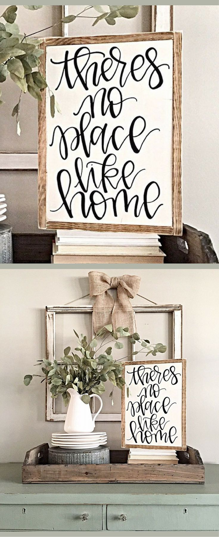 Theres No Place Like Home Hand Painted Sign Rustic Wood Decor Gallery Wall Living Room Farmhouse