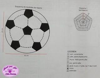 f83df8557c Tapete Infantil de Crochê em Formato de Bola de Futebol
