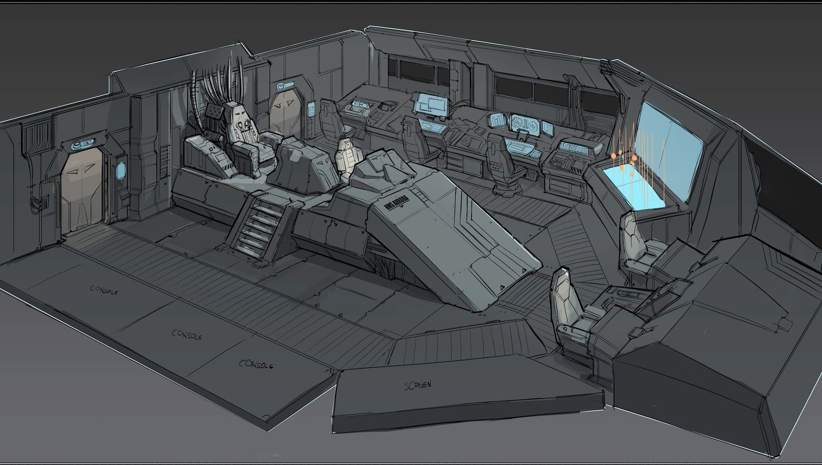 Fi Sci Spaceship Interior Quick Sketch Of A Space Destroyer S