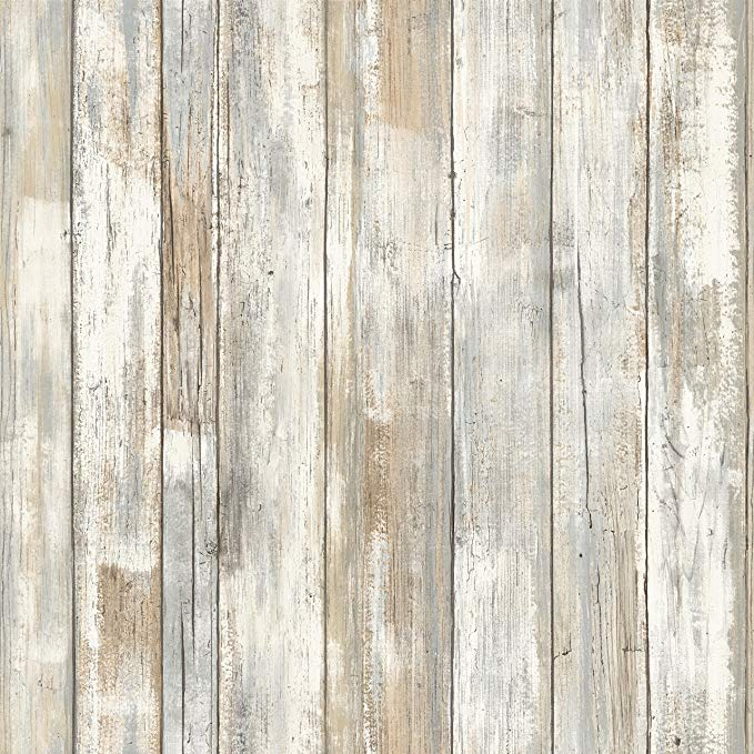 Roommates Distressed Wood Peel And Stick Wallpaper Removable Wallpaper Self Adhesive Wallpape In 2020 Distressed Wood Wallpaper How To Distress Wood Wood Wallpaper