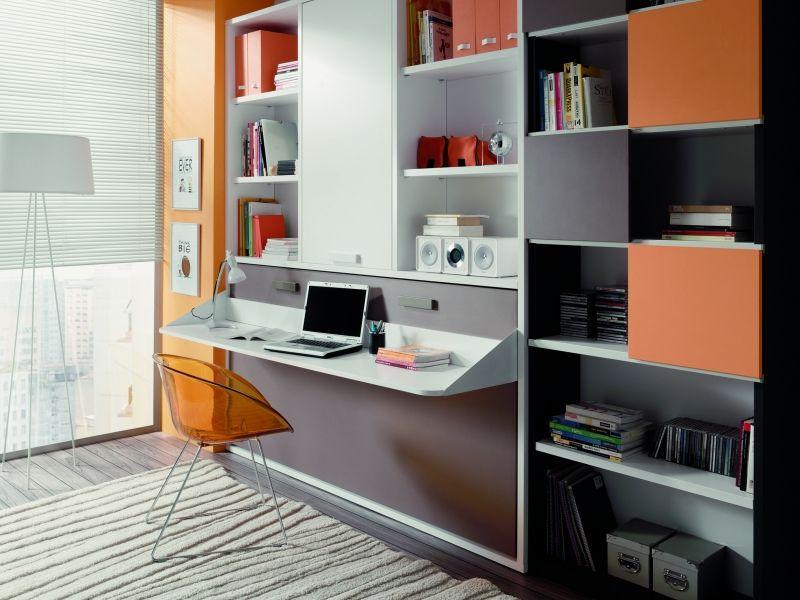 Cama plegable horizontal con escritorio y amplia librer a - Camas muebles plegables ...