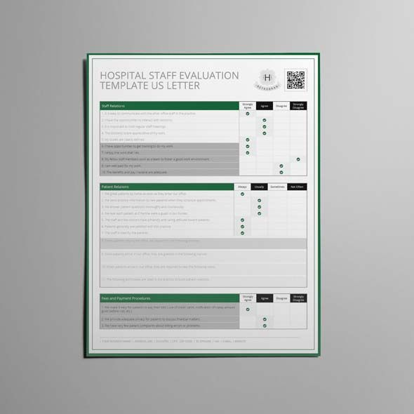 Hospital Staff Evaluation Template Us Letter  Cmyk  Print Ready